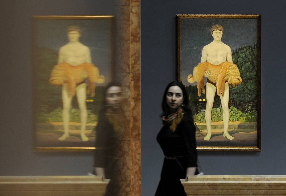 """Картина Дмитрия Жилинского """"Человек с убитой собакой"""" на выставке """"Отечество мое - в моей душе..."""""""