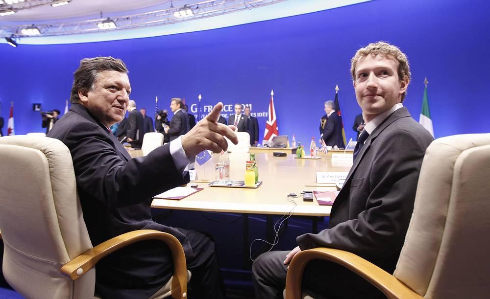 Председатель Европейской комиссии Жозе Мануэл Баррозу и Марк Цукерберг во время рабочей сессии саммита G8 по вопросам интернет-безопасности в Довиле, 2011 год