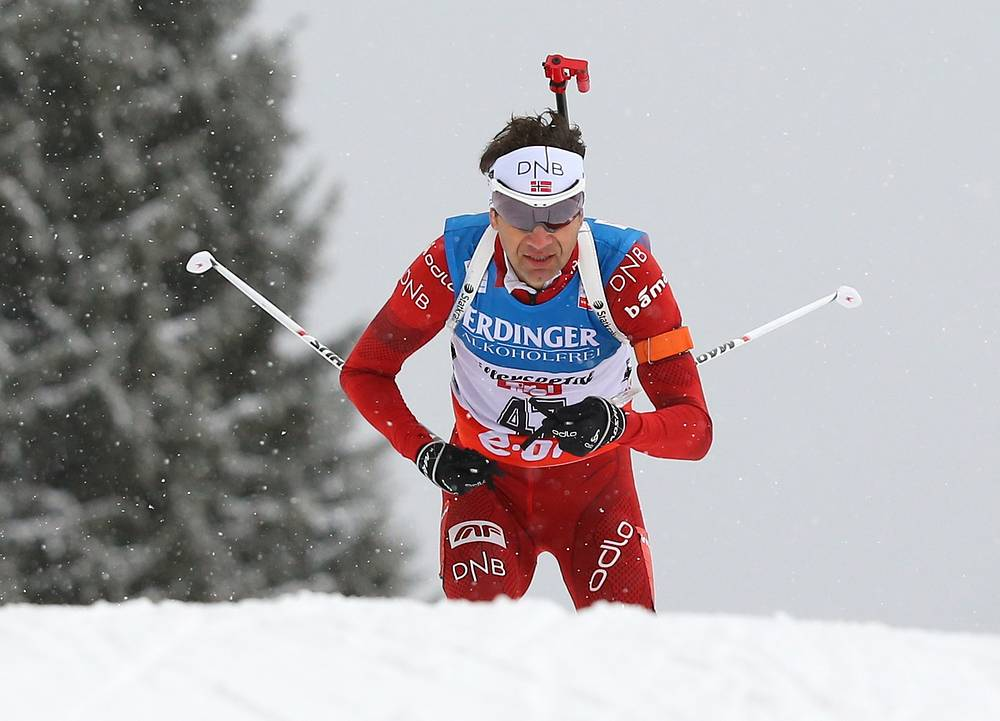 Уле-Эйнар Бьорндален на этапе Кубка мира по биатлону в Хохфильцене, 2013 г.