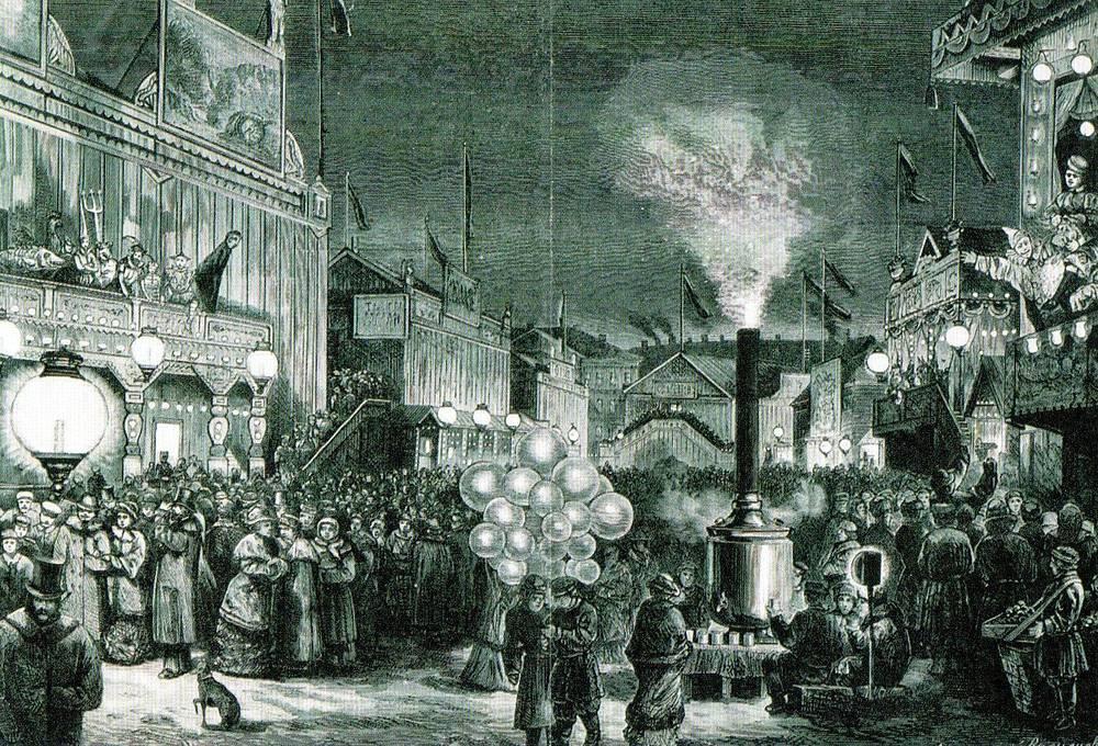 У балаганов в Масленицу на Царицыном лугу. По рис. А.М.Васнецова. 1880-е гг.