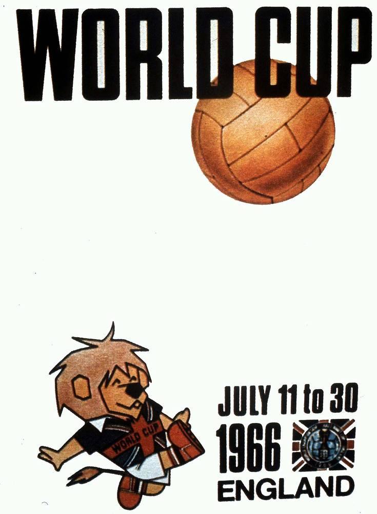 Плакат ЧМ-1966 в Англии. Хозяева мирового первенства в финале победили команду ФРГ и завоевали первый титул - 4:2