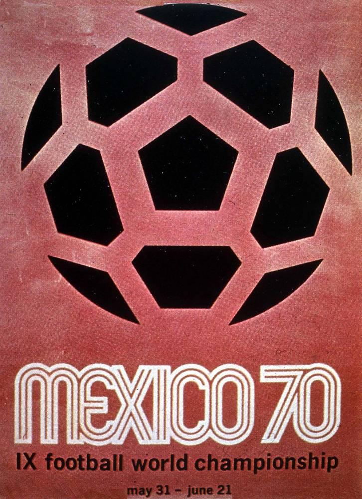 Плакат ЧМ-1970 в Мексике. Бразильцы стали трехкратными победителями чемпионата мира, победив в финале сборную Италии - 4:1