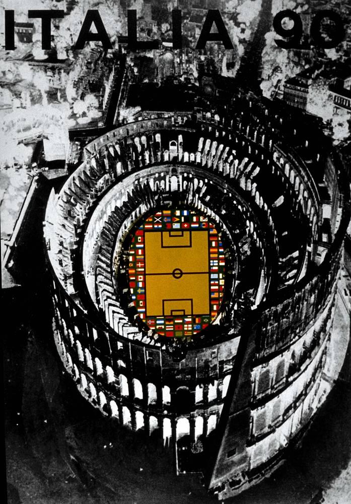 Плакат ЧМ-1990 в Италии. Команда ФРГ в третий раз стала победителем мирового первенства, в решающем матче немцы обыграли сборную Аргентины - 1:0