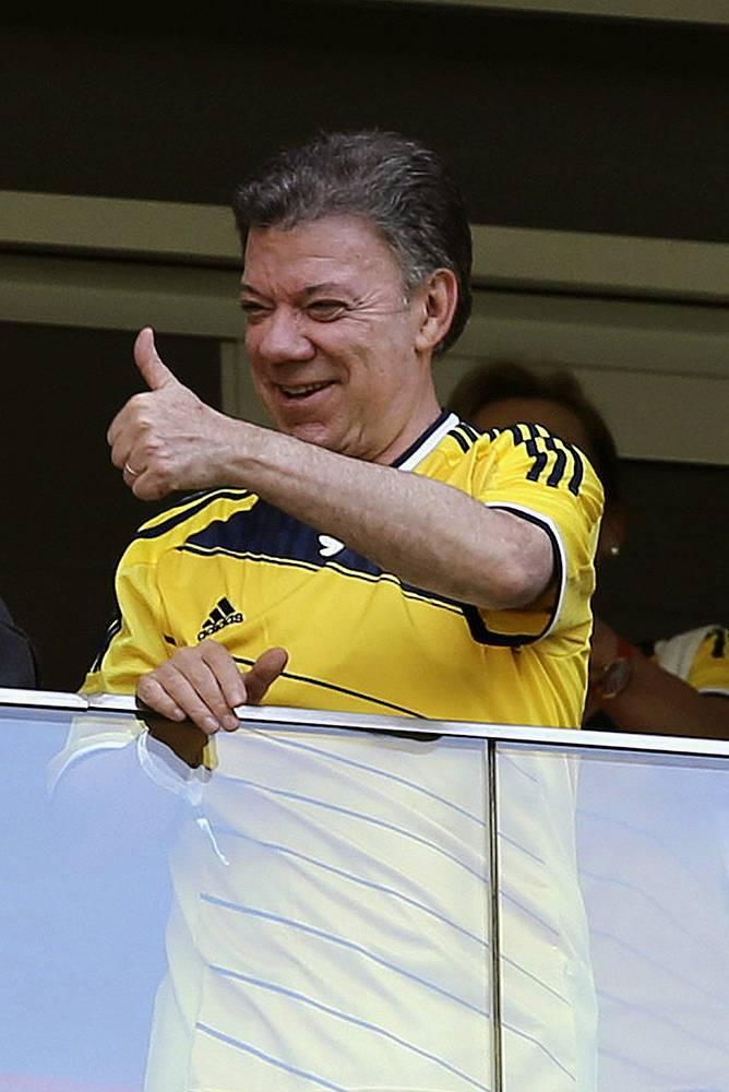 Президент Колумбии Хуан Мануэль Сантос поддерживал команду на трибунах