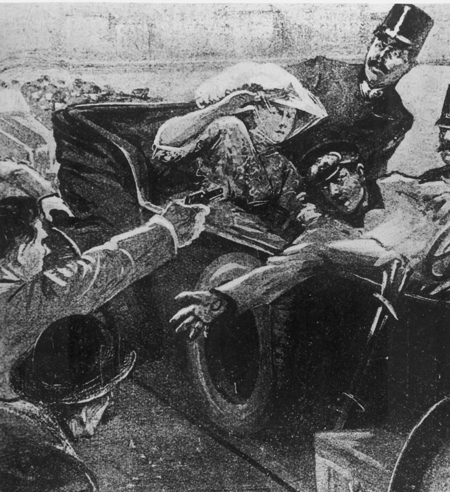 Гаврило Принцип стреляет во Франца-Фердинанда и Софию Хотек. Рисунок неизвестного художника для газеты