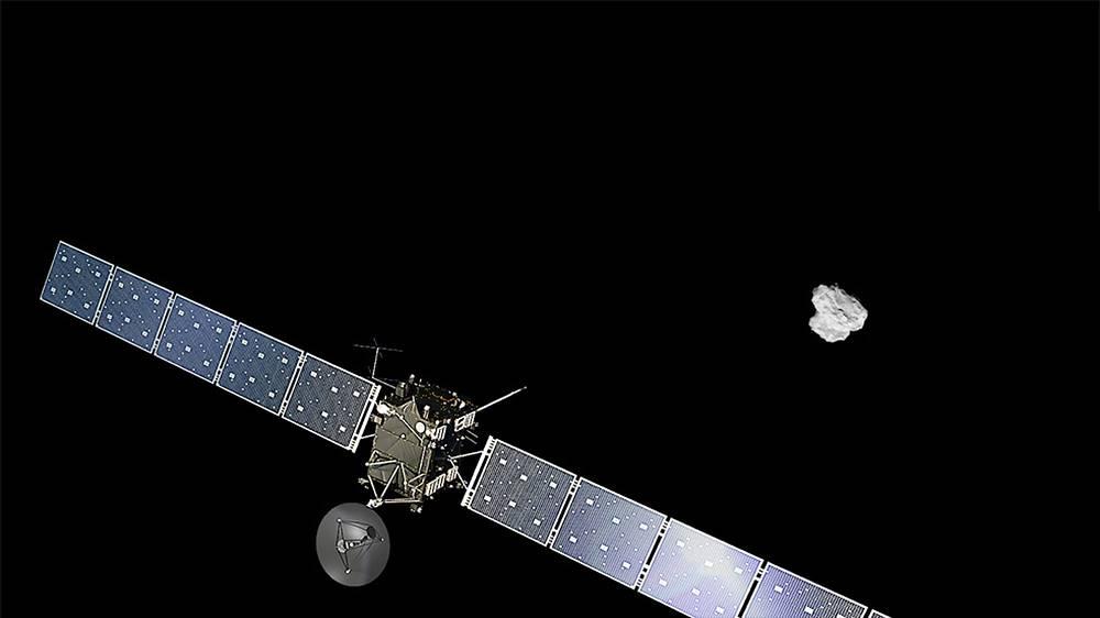 """6 августа межпланетная станция """"Розетта"""" выведена на орбиту вокруг кометы Чурюмова-Герасименко. Это первый случай вывода исследовательского аппарата на орбиту вокруг такого космического тела"""