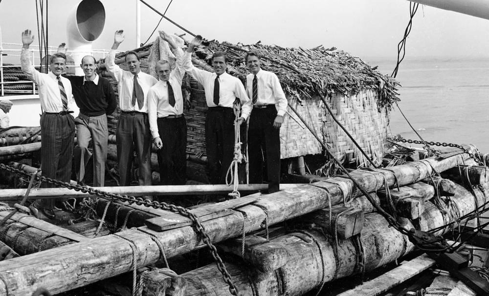 В экспедиции принимали участие пять норвежцев и один швед: Тур Хейердал, Бенгт Даниельсон (швед), Эрик Хессельберг, Турстейн Рааби, Герман Ватцингер и Кнут Хаугланд (слева направо)