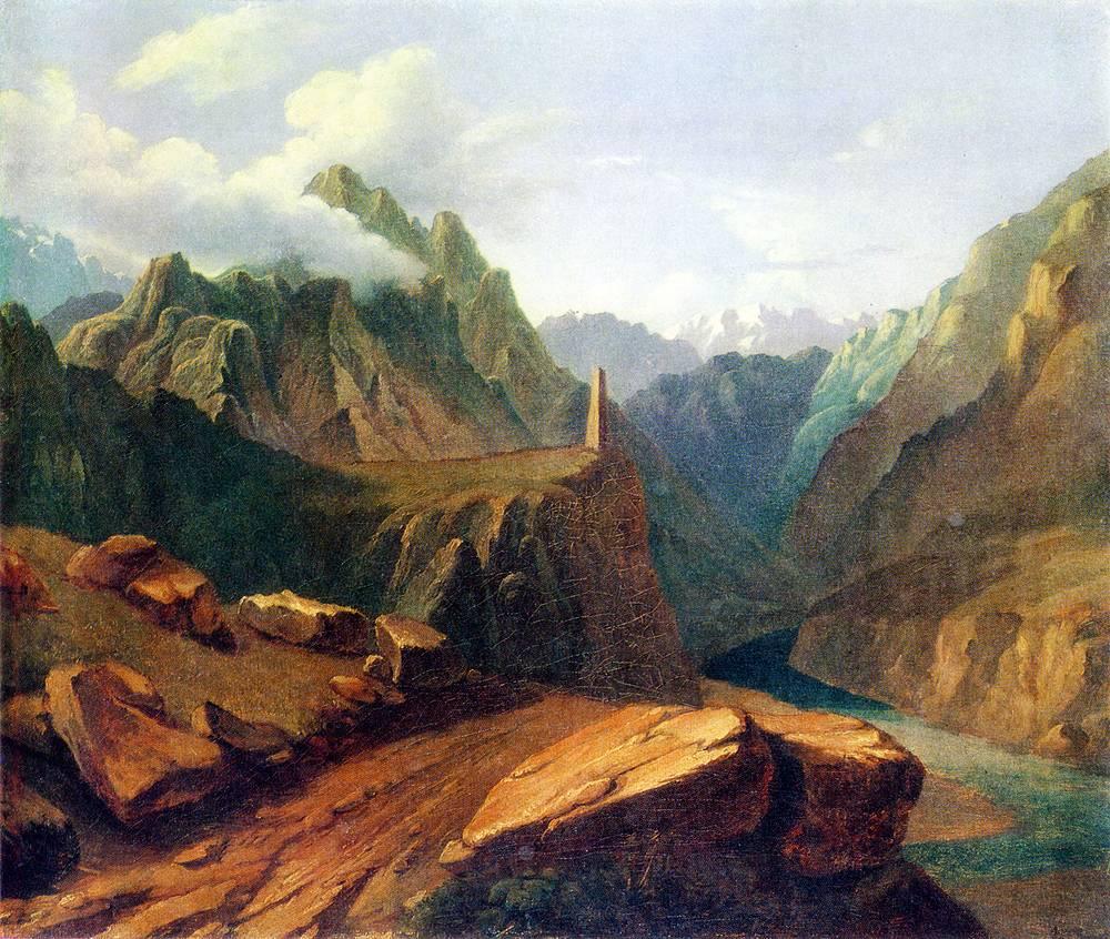 """""""Башня в Сиони"""" (масло, 1837-1838). Это одна из самых больших картин, написанных поэтом маслом. Она была подарена Лермонтовым его бабушке Е. А. Арсеньевой"""