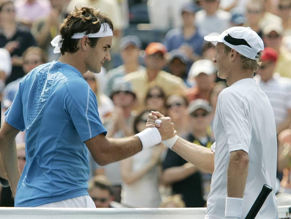 Давыденко после поражения в матче против Роджера Федерера в полуфинале US Open, 2006 год
