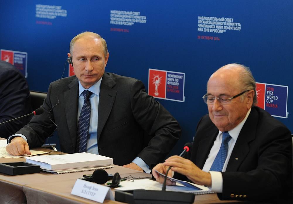 Владимир Путин и Йозеф Блаттер на заседании наблюдательного совета ЧМ-2018
