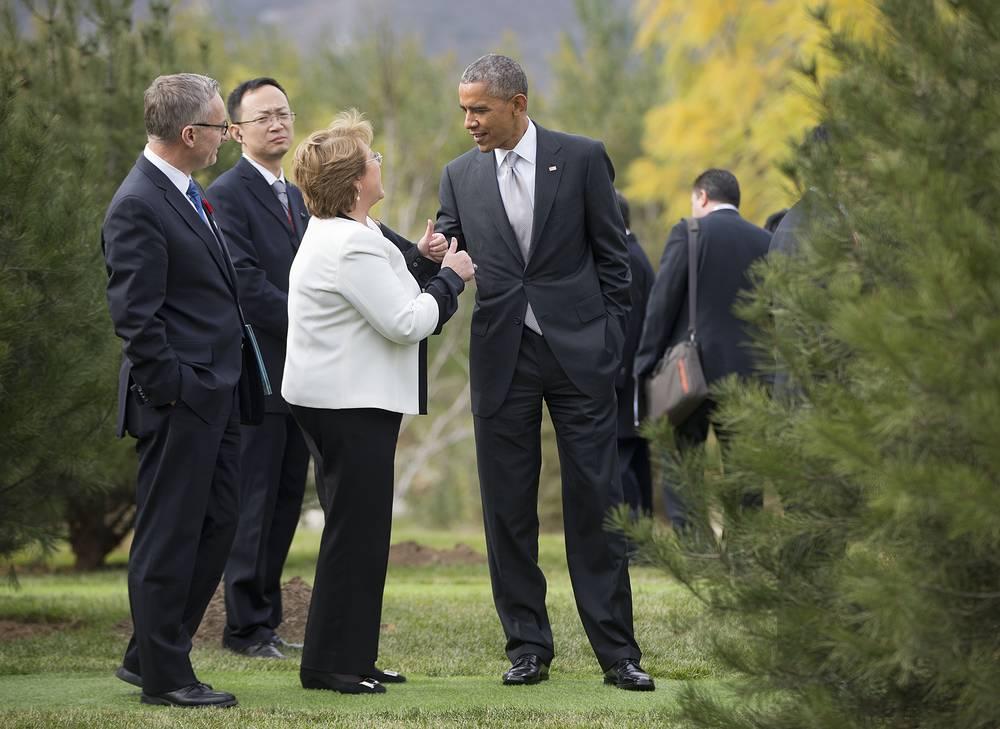 Президент США Барак Обама, президент Чили Мишель Бачеле, министр международной торговли Канады Эд Фаст