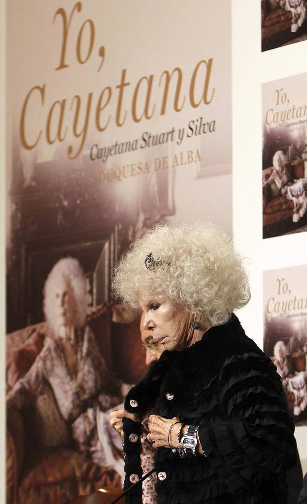 """Герцогиня де Альба во время презентации книги """"Я, Каэтана"""", 2011"""