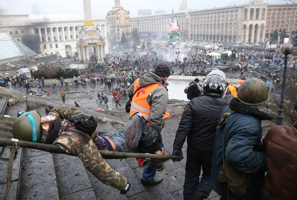20 февраля. Пострадавший в ходе беспорядков в Киеве. В этот день на улице Институтской и площади Независимости снайперским огнем были убиты более ста человек. Представители оппозиции возложили ответственность за произошедшее на президента Виктора Януковича, который отверг эти обвинения