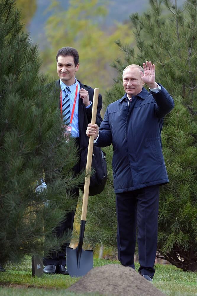 11 ноября. Президент России Владимир Путин на церемонии закладки Аллеи почетных гостей в рамках форума АТЭС в Пекине