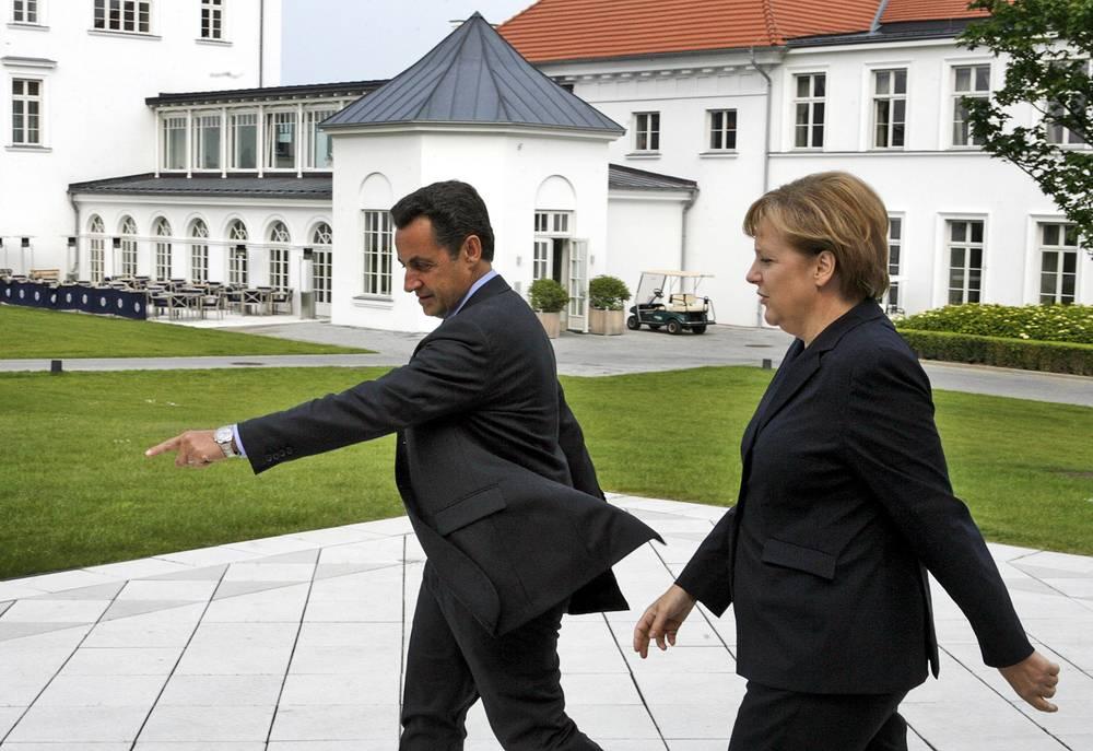 Президент Франции Николя Саркози и канцлер Германии Ангела Меркель на саммите G8 в Хайлигендамме. Германия, 2007 год