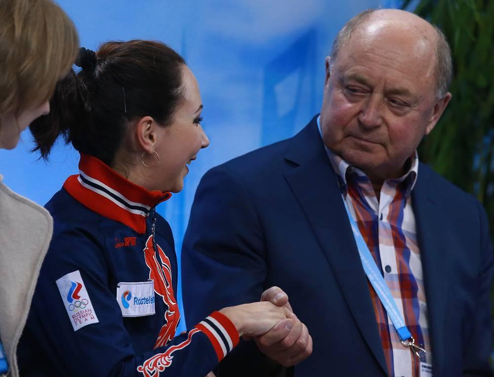 Елизавета Туктамышева и ее тренер Алексей Мишин после выступления