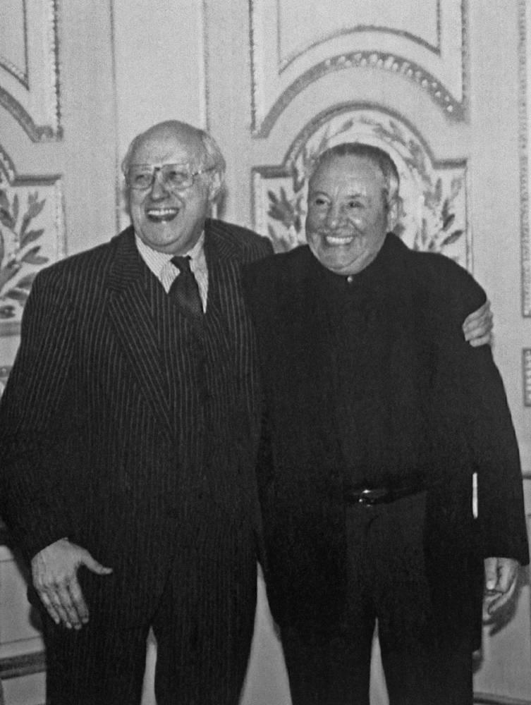 Дирижер Мстислав Ростропович и скульптор Эрнст Неизвестный, Нью-Йорк, 1996 год