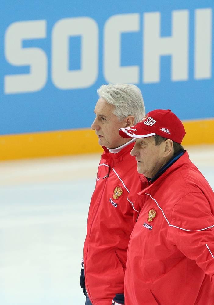 Валерий Белоусов с главным тренером сборной России Зинэтулой Билялетдиновым на тренировке национальной команды на Олимпийских играх в Сочи