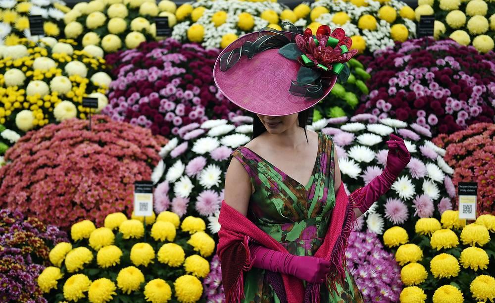 Посетительница выставки цветов в Челси