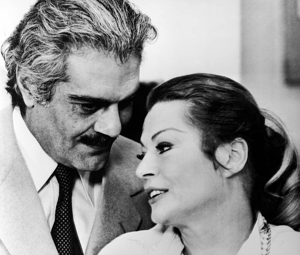 """Омар Шариф и Анита Экберг на съемках фильма """"О.Н.А."""". Рим, 1979 год"""