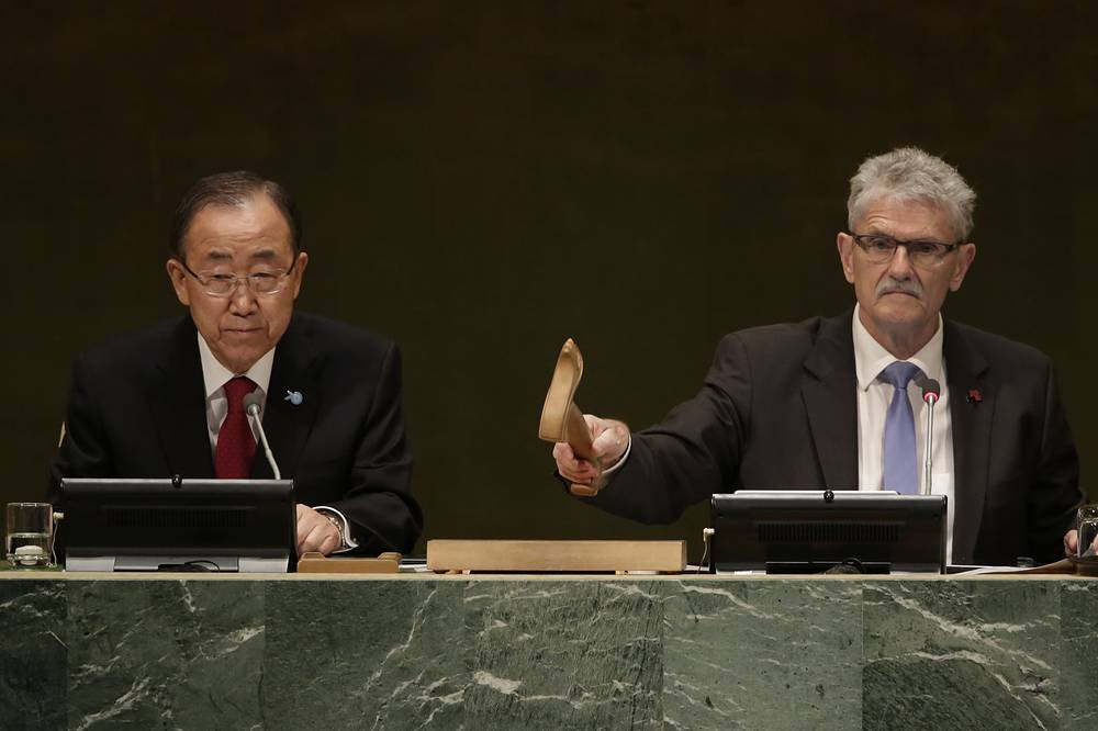 Генеральный секретарь ООН Пан Ги Мун и председатель 70-й сессии ГА Могенс Люккетофт