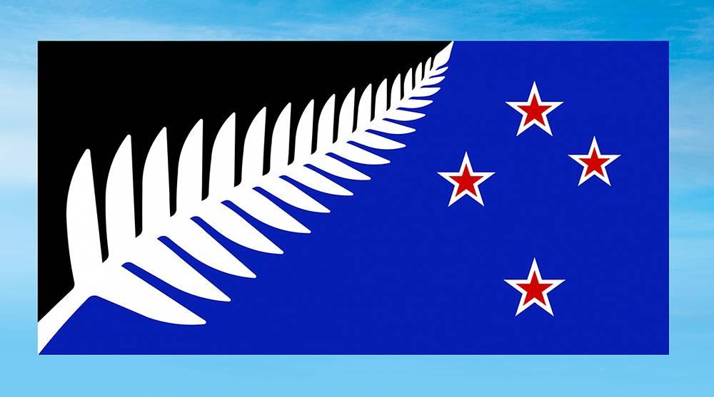 Черно-синее полотнище с четырьмя красными звездами, разделенное на две неравные части белой веткой циатеи серебристой (эндемичного новозеландского папоротника) - такой вариант государственного символа Новой Зеландии стал победителем общенационального референдума