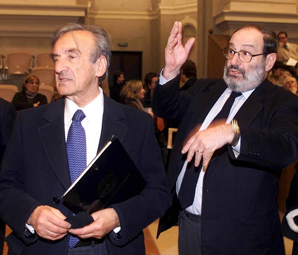 С лауреатом Нобелевской премии мира Эли Визелем в университете Болоньи, 2000 год