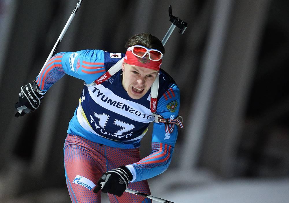 Российский спортсмен Матвей Елисеев во время спринтерской гонки на 10 км
