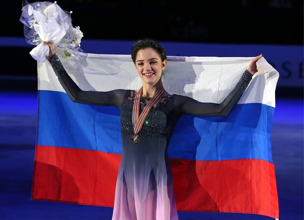Евгения Медведева после победы на чемпионате мира в Хельсинки
