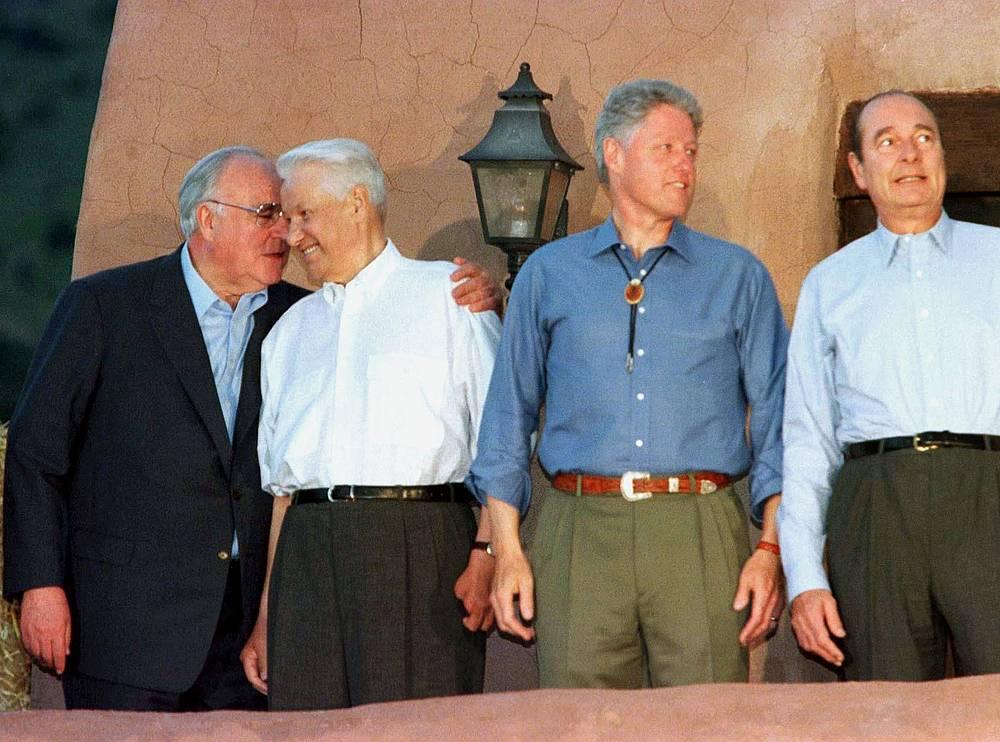 Канцлер ФРГ Гельмут Коль, президент РФ Борис Ельцин, президент США Билл Клинтон и президент Франции Жак Ширак. Денвер, 1997 год
