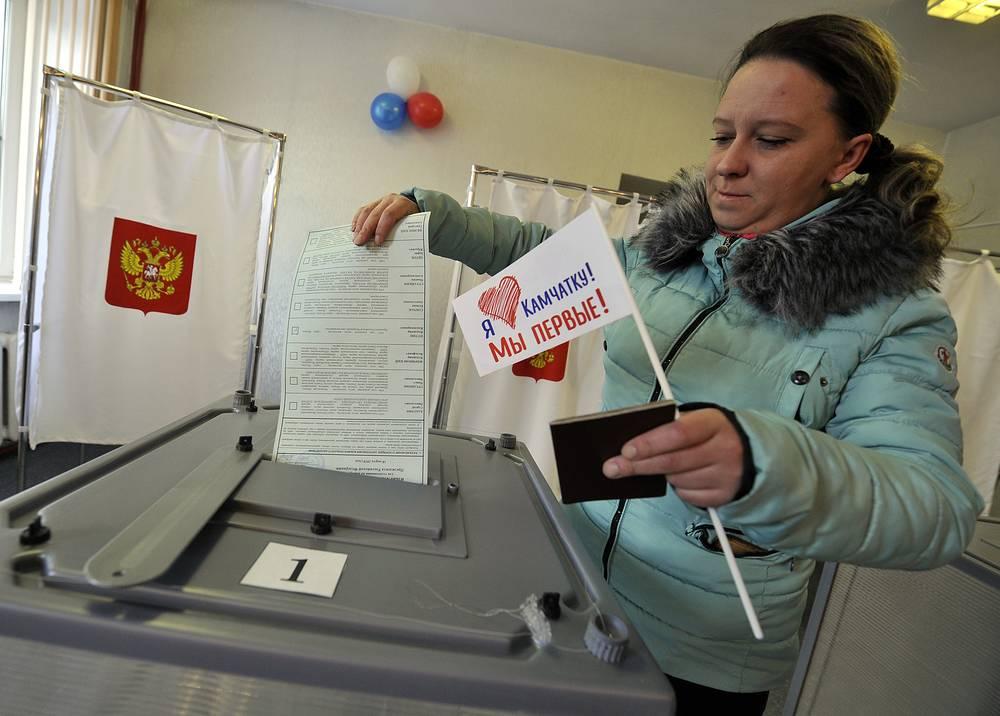 На избирательном участке в городе Елизово в Камчатском крае