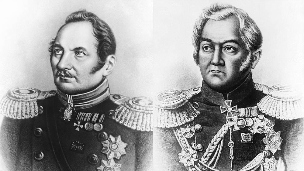 Фаддей Фаддеевич Беллинсгаузен (1778—1852) и Михаил Петрович Лазарев (1788-1851)