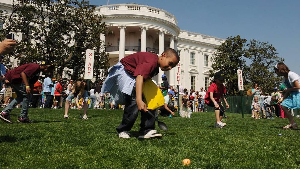 Популярная в США пасхальная игра - катание яиц по лужайке