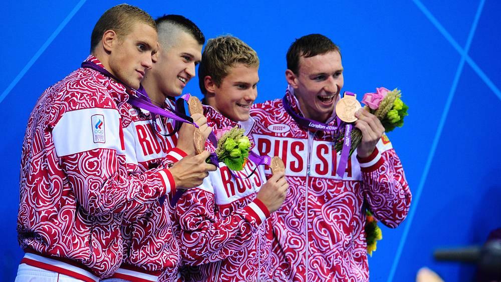 Сборная команда России по плаванию - Андрей Гречин, Никита Лобинцев, Владимир Морозов и Данила Изотов