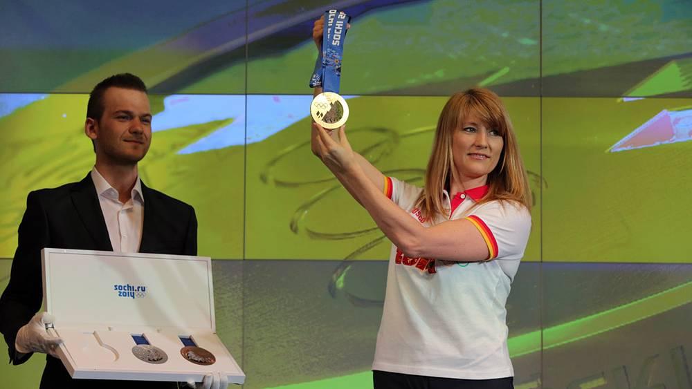 Олимпийская чемпионка Светлана Журова на презентации