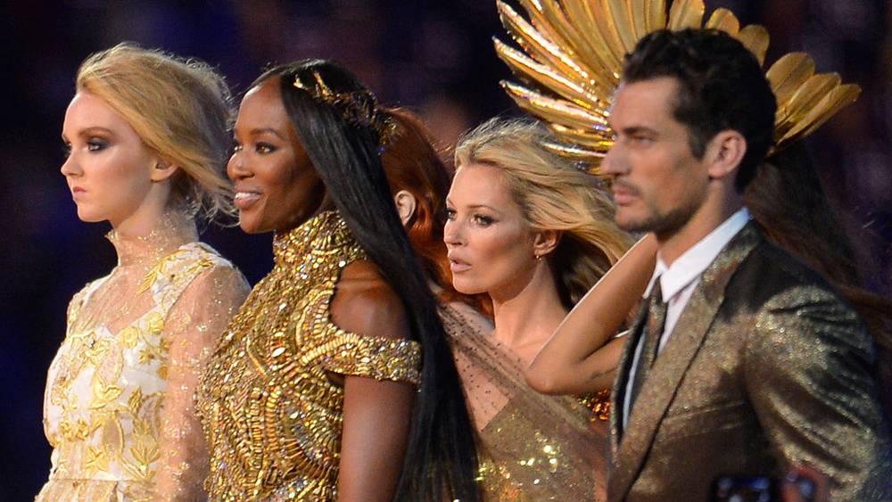 Кейт Мосс и Наоми Кэмпбелл (в центре). Церемония закрытия Игр-2012