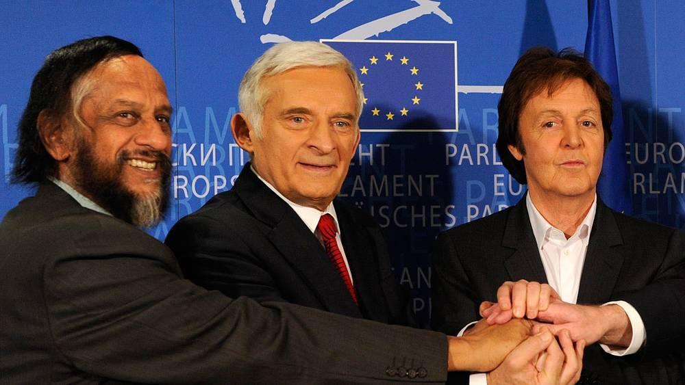 Маккартни на конференции «Глобальное потепление и продовольственная политика» в Брюсселе, 2009 год
