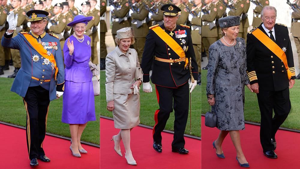 Слева направо: королева Дании и принц-консорт, король и королева Норвегии, король и королева Бельгии