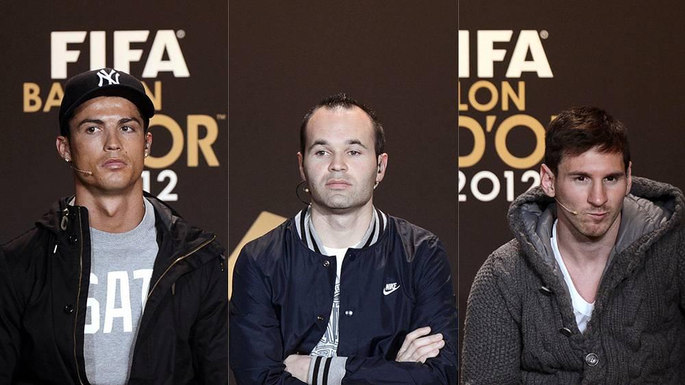 Роналду, Иньеста, Месси (слева направо)