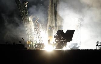 The Russian Soyuz TMA-12M rocket lifts off from Baikonur