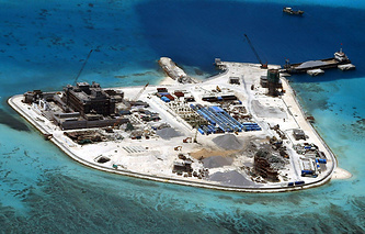 Construction at Mabini (Johnson) Reef by China, in the disputed Spratley Islands, in the south China Sea