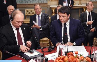 Президент РФ Владимир Путин и премьер-министр Италии Маттео Ренци