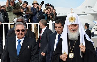Председатель Государственного совета Кубы Рауль Кастро и патриарх Московский и всея Руси Кирилл, 12 февраля
