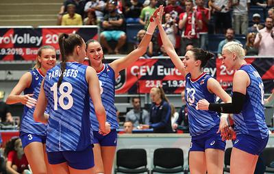 Российские волейболистки победили команду Швейцарии во втором матче чемпионата Европы