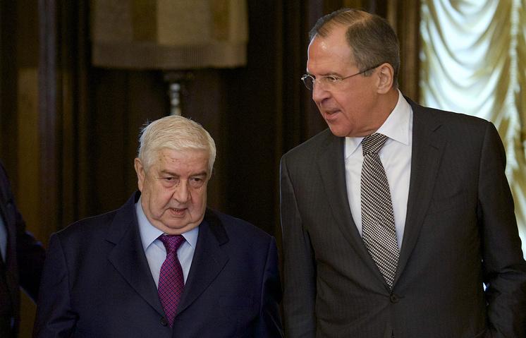 Министр иностранных дел и по делам эмигрантов Сирии Валид Муаллем и министр иностранных дел РФ Серей Лавров