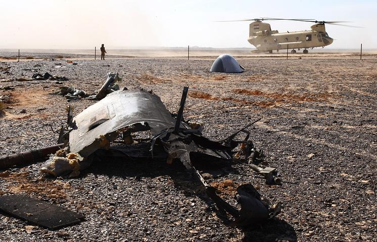 Место крушения российского самолета Airbus A321 в Египте
