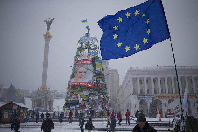 Christmas tree in Kiev with Yulia Tymoshenko's image