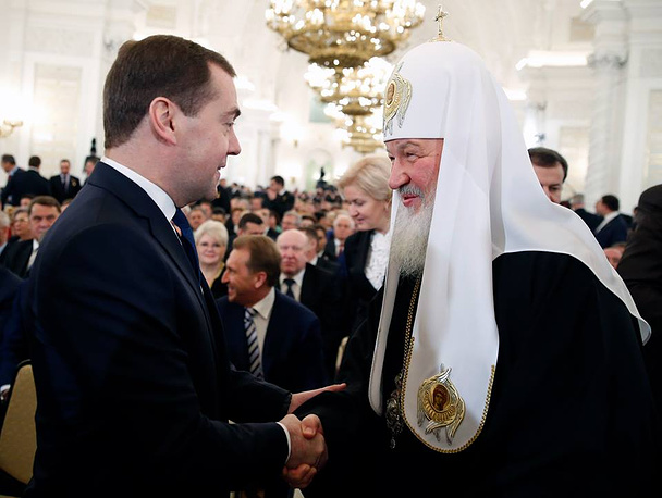 Prime Minister Dmitry Medvedev and Patriarch of Moscow and All Russia Kirill