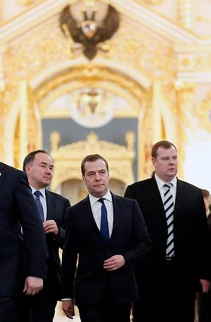 Prime Minister Dmitry Medvedev prior to Russian President Vladimir