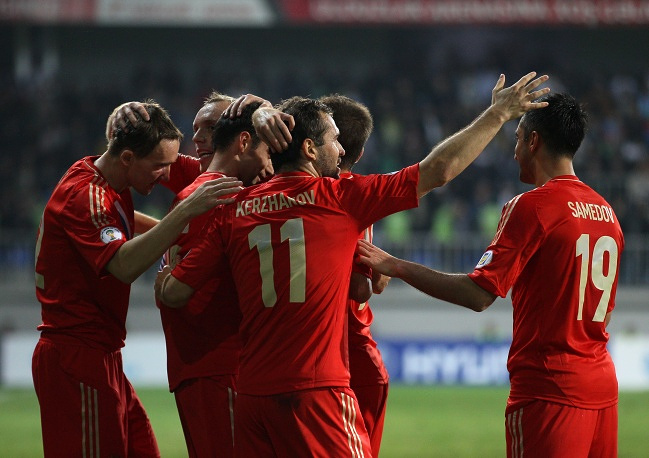 Russian national soccer team during qualifying game for 2014 World Cup with Azerbaijan